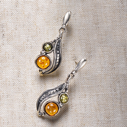 Arts & Crafts Amber Earrings