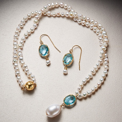 Emilie Pearl & Crystal Necklace & Earrings