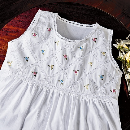 Embroidered Buds Nightdress