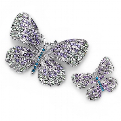 Pair of Crystal Butterfly Brooches