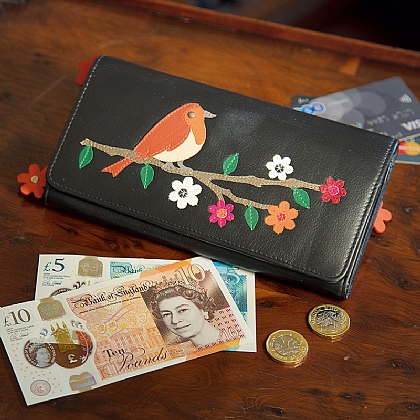 RFID Robin Applique Leather Purse
