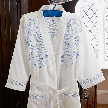 Embroidered Cotton Dressing Gown