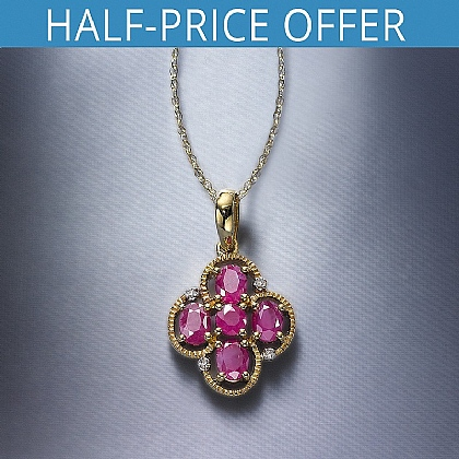 Roberti Gold Ruby and Diamond Pendant