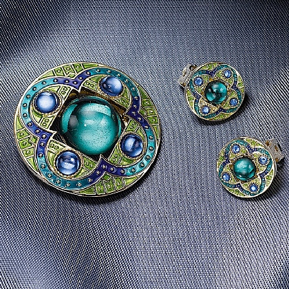 Medieval Quatrefoil Scarf Clip & Earrings