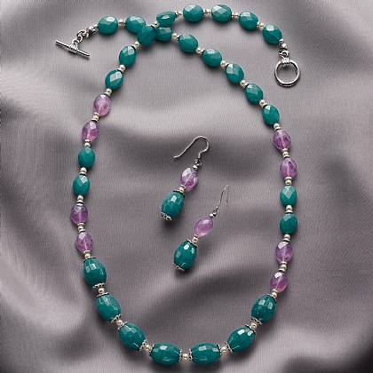 Belle Epoque Jade & Amethyst Necklace & Earrings