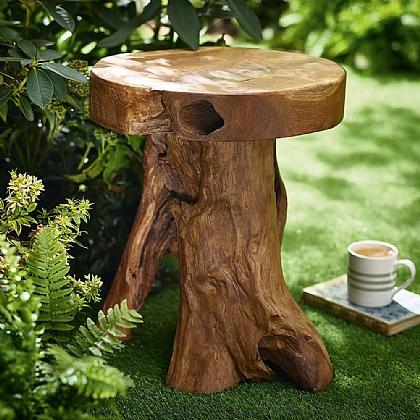 Teak Trunk Stool Garden Museum, Tree Trunk Furniture Uk